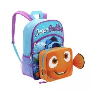 """Finding Dory Nemo 16"""" Backpack W/Lunch Bag NEW"""
